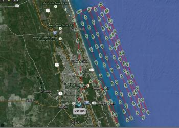 This image, provided by Flagler county, shows the flight path of FireFlight during the search.
