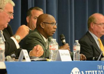 Sheriff candidate Larry Jones, a Democrat, speaks during the forum Aug. 8. (Photo by Jonathan Simmons)