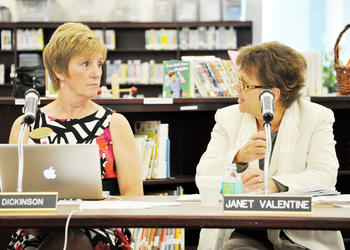 Superintendent Janet Valentine, right, said the district will save 12% to 14% on staff. PHOTO BY SHANNA FORTIER