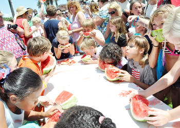 Kids and adults alike got the chance to chow down on watermelon July Fourth, at the Flagler Beach watermelon-eating contest. PHOTOS BY SHANNA FORTIER