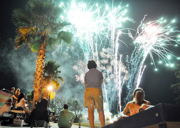 The Town Center Labor Day tailgate party ended with a fireworks display.
