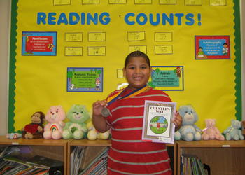 Jaden Williams was the first student in Debbie Kryspin's second grade class to earn 100 Reading Counts points.COURTESY PHOTO