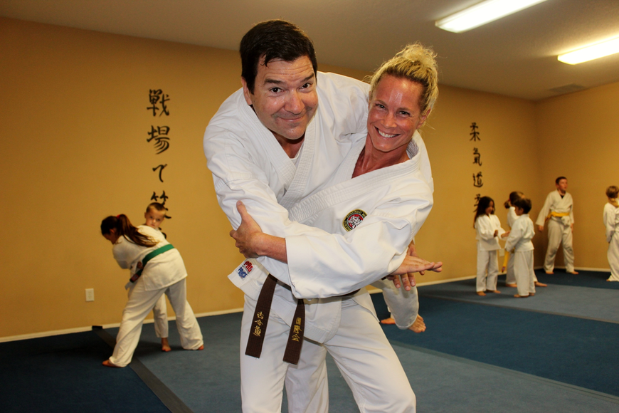 Husband and wife James Thrall and Lisa Motyka hope to become black belts around their 18th wedding anniversary next month. Photo by Jeff Dawsey