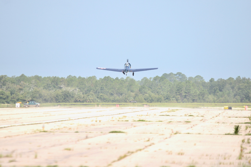 An airplane leaves the pavement for the final time at Runway 11-29 at Flagler Executive Airport. Photo by Ray Boone