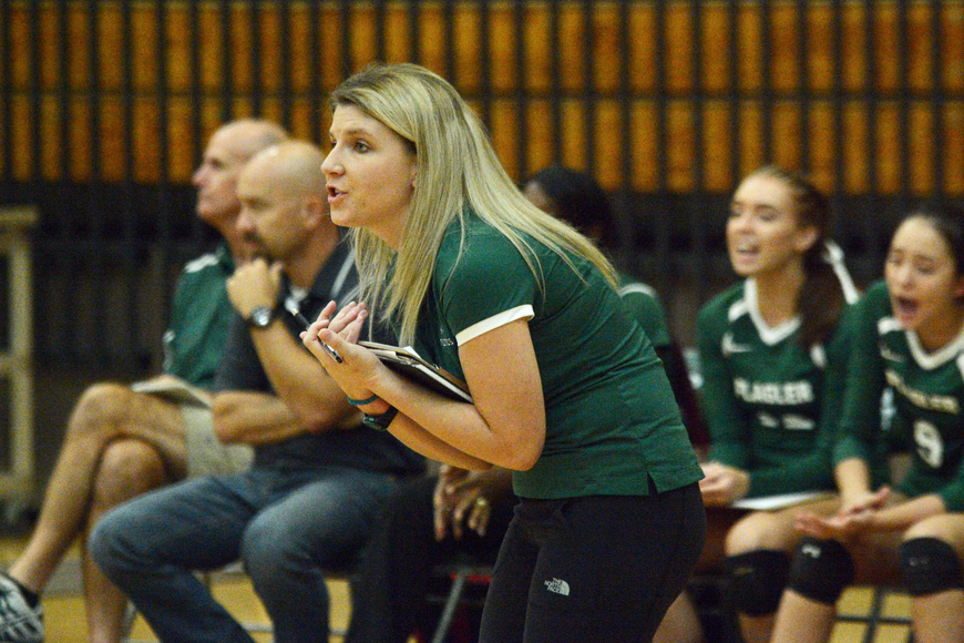 FPC coach Ashlee Dietrich yells out instructions to her team during the game. Photo by Ray Boone