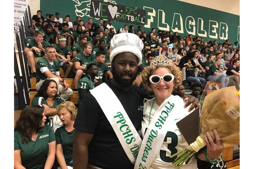 FPC football head coach Travis Roland and teacher Allison Elledge are crowned the FPC homecoming duke and duchess. Photo courtesy of FPC Twitter