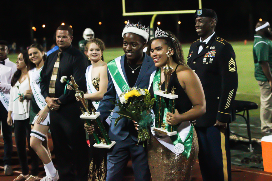 Daryl Boyer and Braylynn McCall are crowned the new FPC homecoming king and queen. Photo by Ray Boone