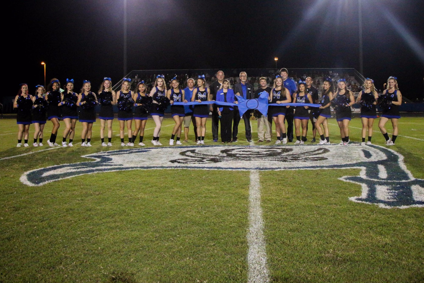 Matanzas High School track ribbon-cutting ceremony at MHS homecoming  football game halftime. Photo courtesy of Flagler Schools Plant Services Twitter