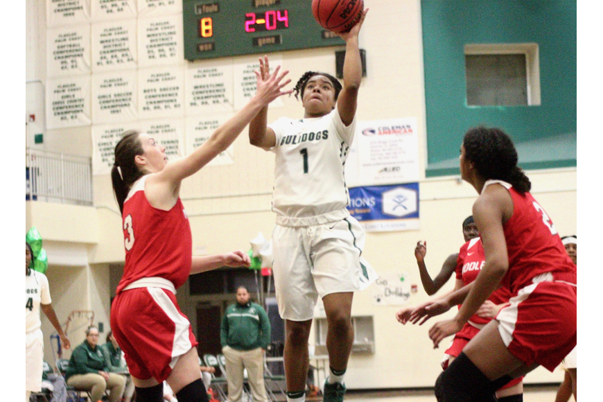 FPC guard Brianna Ellis shoots a floater against Middleburg. Photo by Ray Boone