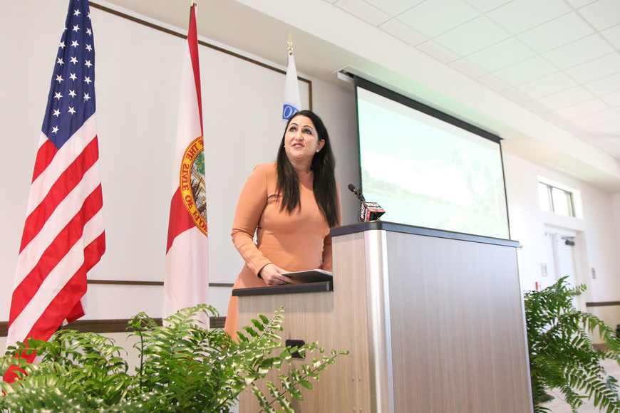 Palm Coast Mayor Milissa Holland gives guests the State of the City address. Photo by Paige Wilson