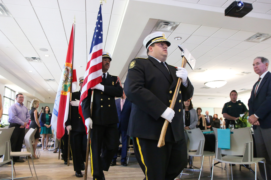The Palm Coast Fire Department Honor Guard present the colors. Photo by Paige Wilson