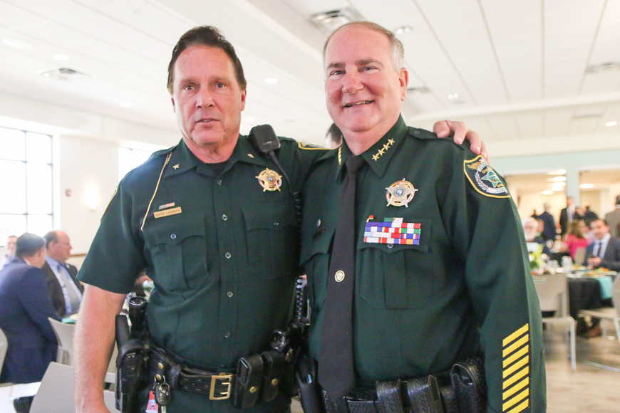 Flagler County Sheriff's Office Senior Commander Mark Carman and Sheriff Rick Staly. Photo by Paige Wilson