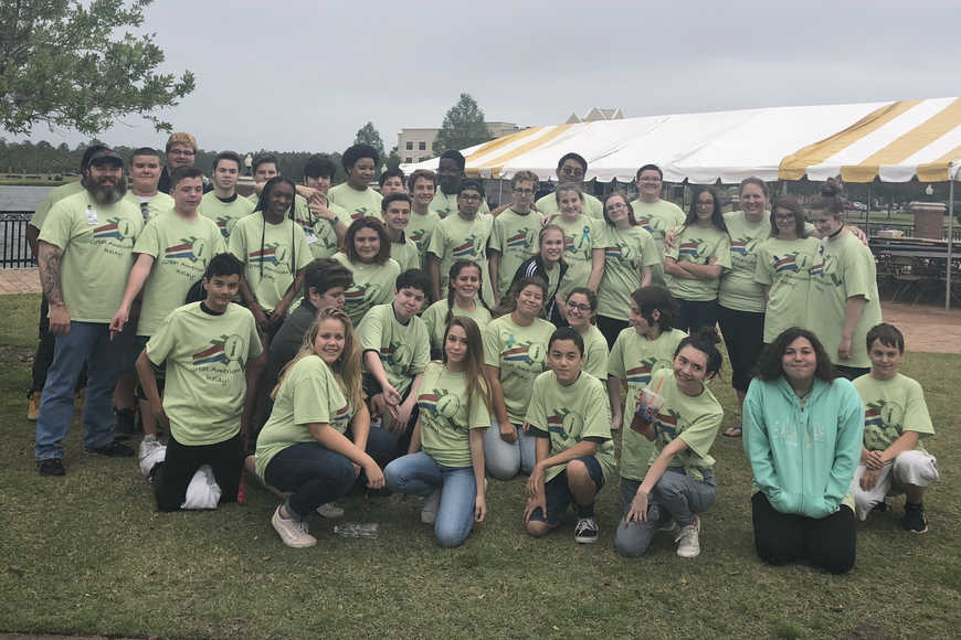 Flagler i3 Academy freshman students pose at Relay for Life with school staff. Photo courtesy of Corinne Schaefer