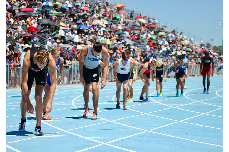 Matanzas' Jacob Miley (second from the left) prepares for the start of the boys 3A 800-meter run. Photo by Ray Boone