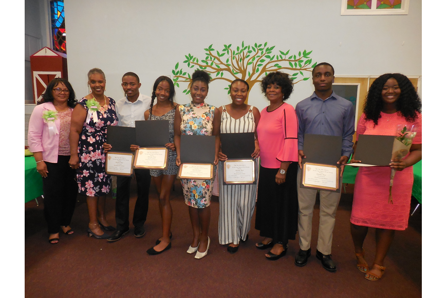 Scholarship Committee chairmen Cerrito King and Marva Jones, Darryl Boyer, Zameena Phillips, Namiah Simpson, Emany Desinor, AKA Chapter President Theresa Waters, Donald Bryant and Bella Jean-Baptiste. Photo courtesy Myra Valentine