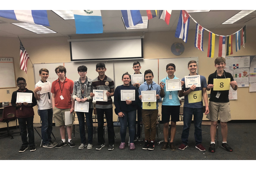 ITMS Spanish Spelling Bee participants Michael Mwaura, Sean Gilliam, William Sisk, Isabella Miller, Krish Sagar, Iysis Nickell, Daniel Wolcott, Tanner Paulo, Diego Carrascosa, Paul Grau and Alan Hale.  Courtesy photo