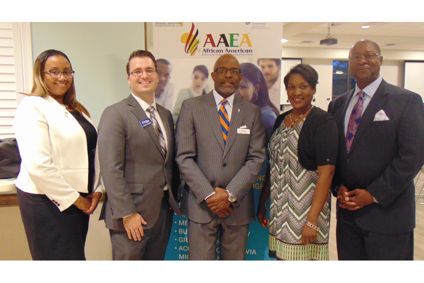 Romessea Lewis, of Black Business Investment Fund; Jeremy Pombier, of VyStar Credit Union; Leslie Giscombe, of AAEA; Valerie Green, of Accion East; and Thaddeus Hammond, of U.S. SBA. Courtesy photo