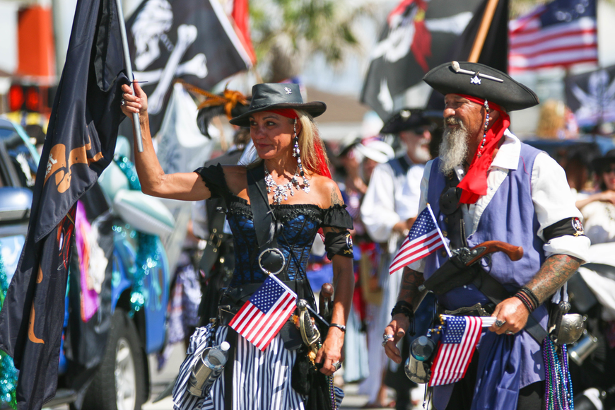 Pirates parade down A1A. Photo by Paige Wilson