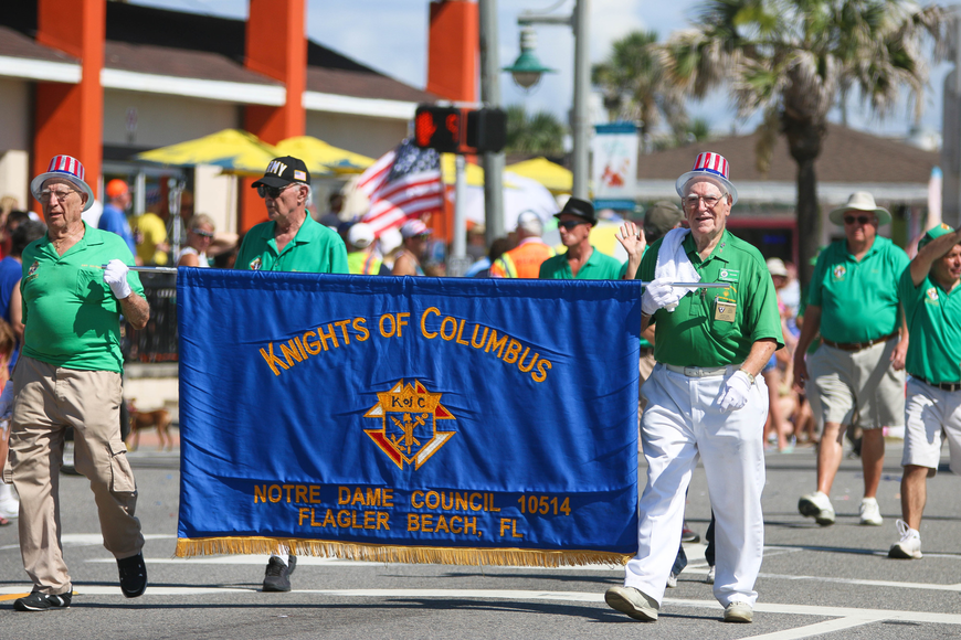 The Knights of Columbus Notre Dame Council 10514 of Flagler Beach marches in the parade. Photo by Paige Wilson