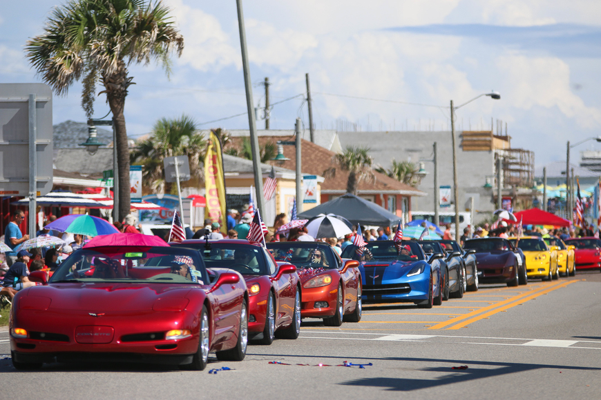 Corvettes line A1A during the parade. Photo by Paige Wilson