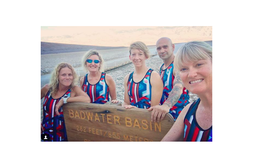 Dawn Lisenby (left) with her crew at Badwater Basin. Courtesy photo