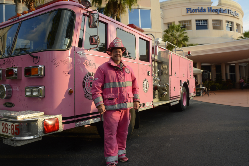 St. Johns Fire Department Lt.  Michael Meacham, founder of the local Pink Heels branch.
