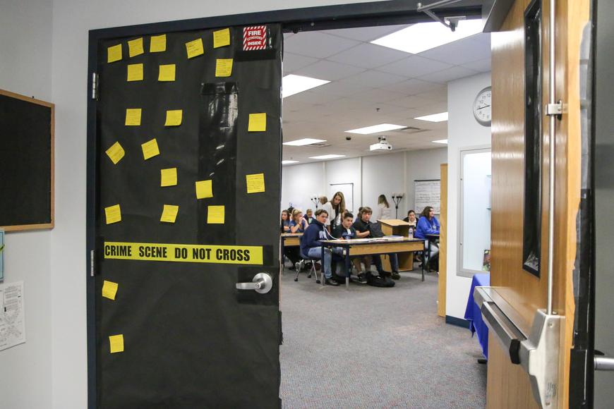 The door for the justice classroom is decorated to the theme. Photo by Paige Wilson