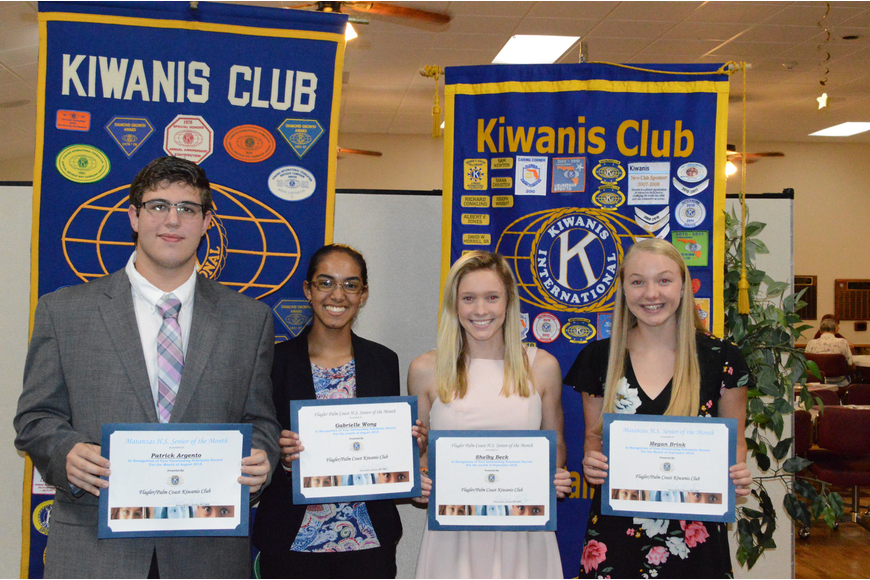 Kiwanis Club seniors of the month for August: Patrick Argento and Gabrielle Wong, and for September: Shelby Beck and Megan Brink. Photo courtesy of Richard Conkling