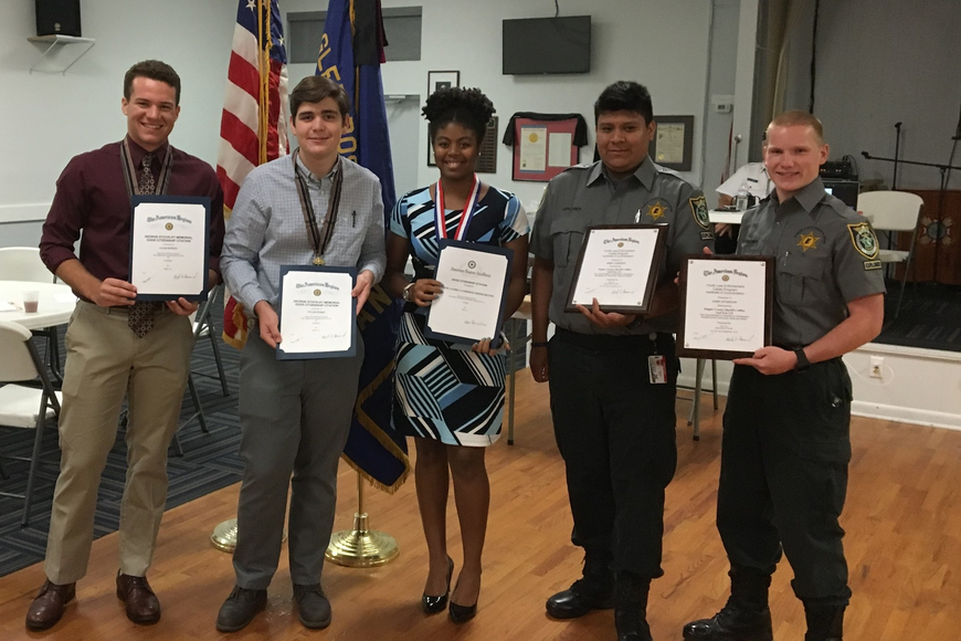 The honorees from FPCHS: Boys State delegates Liam Dineen and Tyler Perry, Girls State delegate Anne Joseph, Youth Law Enforcement Cadets Jose Vasquez and John Overton. Photo courtesy of American Legion Post 115