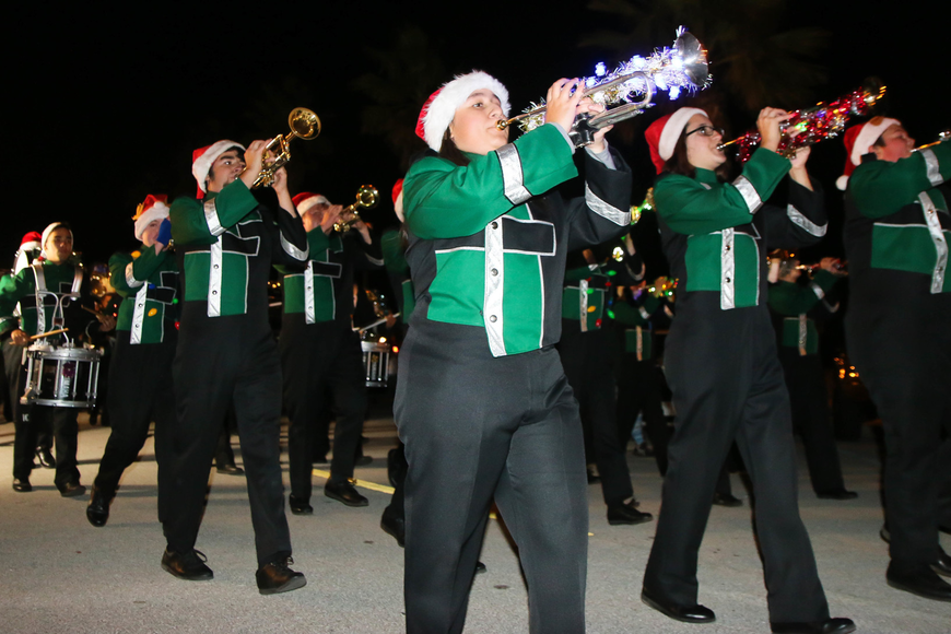 The FPCHS Marching Band in the 2017 Starlight Parade in Palm Coast. Photo by Paige Wilson