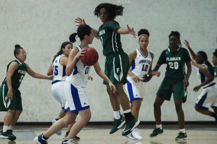 FPC's Brianna Ellis plays defense on a Matanzas player. Photo by Ray Boone