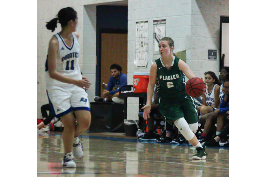 FPC's Lily Dunaway dribbles the ball up the court. Photo by Ray Boone
