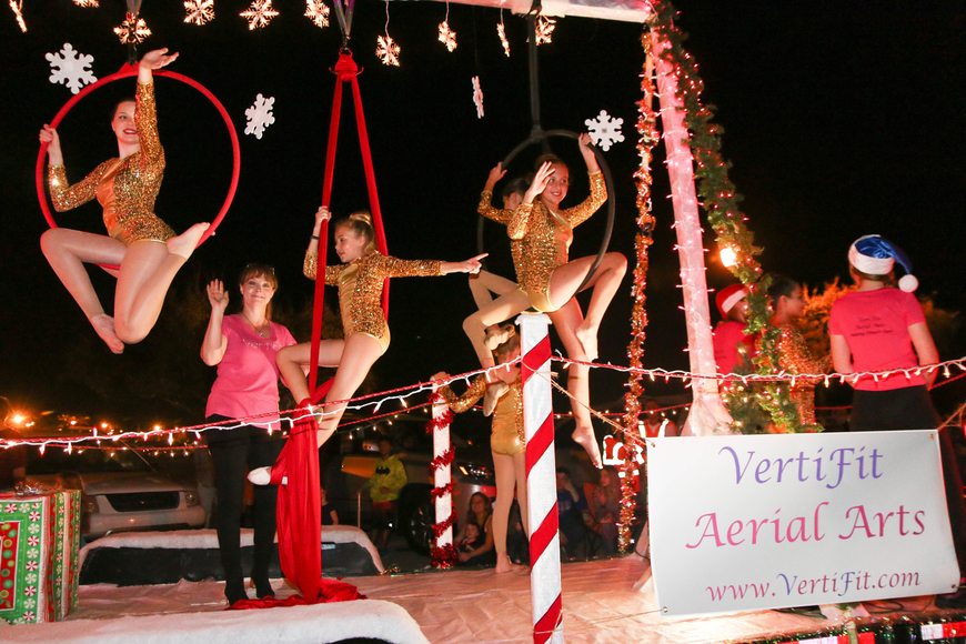 VertiFit Aerial Arts shows their festive spirit. Photo by Paige Wilson