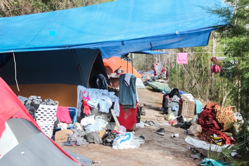 The homeless camp behind the Flagler County Public Library is covered in trash and human waste. Photo by Ray  Boone