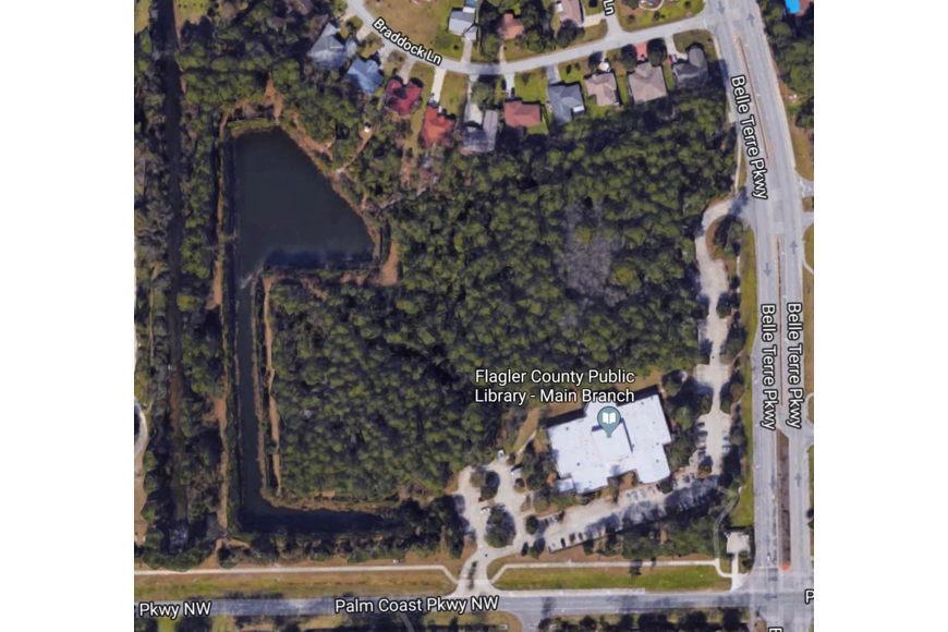 The Flagler County Public Library's 19-acre property. Image courtesy of Google Maps