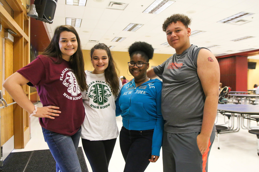 FPC Leo Club students Yesmine and Elisabeth Smith, Shemara Hibbert and Ocean Green. Photo by Paige Wilson