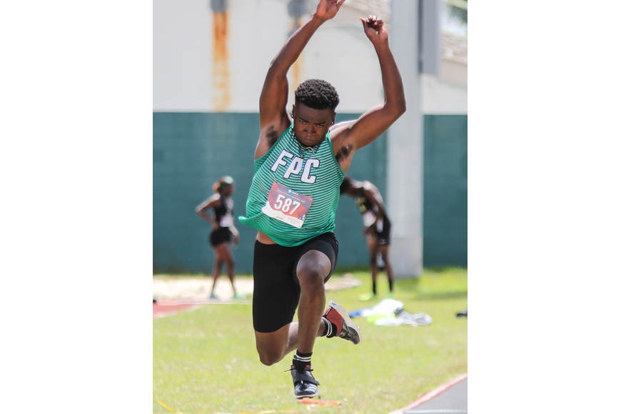 FPC's Curtis Gray competing in the triple jump at the district meet on April 9. File photo