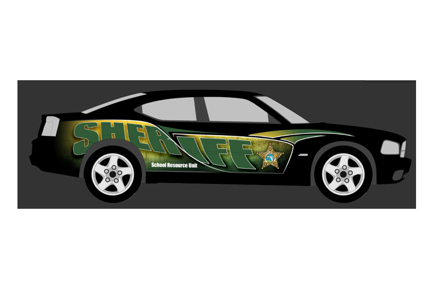 A rendering of the Indian Trails Middle School SRD car, which was wrapped years ago without school personalization. Photo courtesy of FCSO