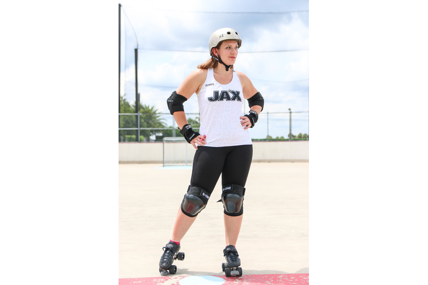 City of Palm Coast customer service specialist Alyssa Roscoe is a blocker on the New Jax City Rollers after spending seven years with Palm Coast's Beachside Brawlers. Photo by Paige Wilson