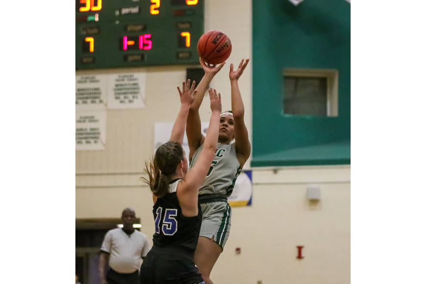 The Bulldogs' Lauren Stewart hits a fadeaway jumper against Matanzas. Photo by Ray Boone