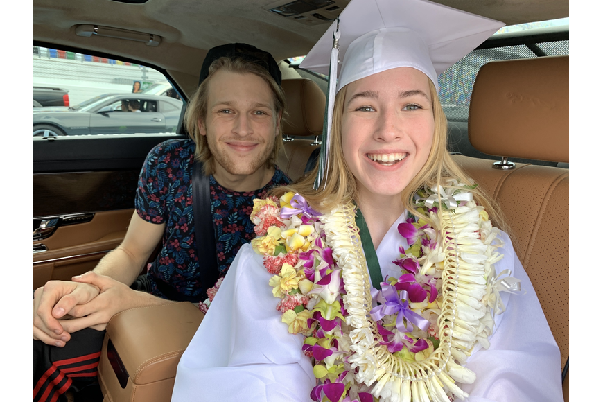 Ahnika Gee wore intricate leis, made by her mother, who is from Hawaii. Her brother, Malcolm Gee, graduated from FPC in 2018 with similar leis.