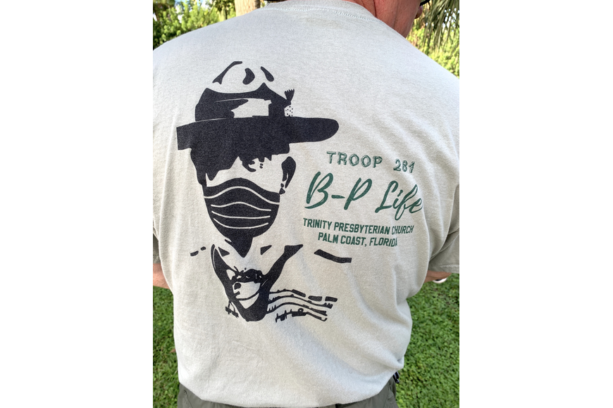 Jason Wheeler designed the troop's T-shirt, adding a face mask onto Robert Baden-Powell, who founded Boy Scouts about 100 years ago.