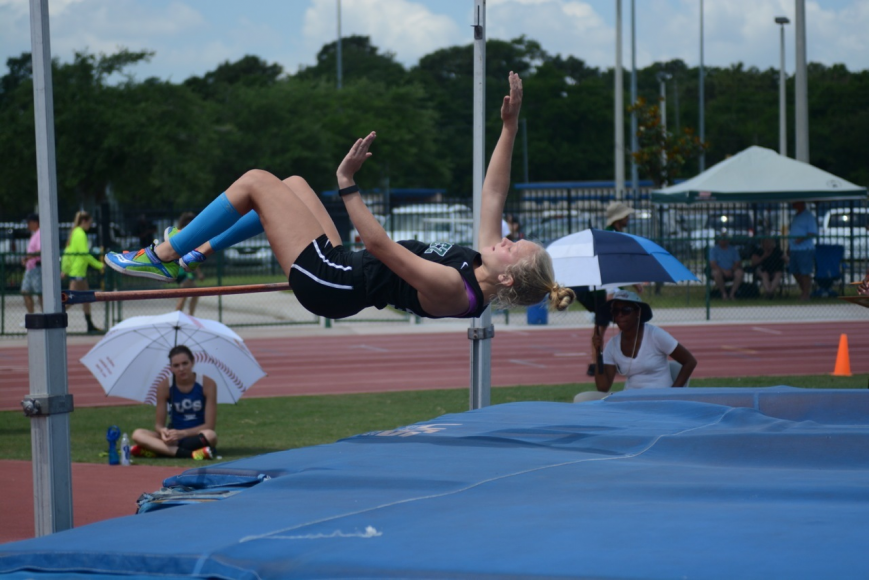 Bailey Gillespy won the high jump at regionals. Photo by Mark Gillespy