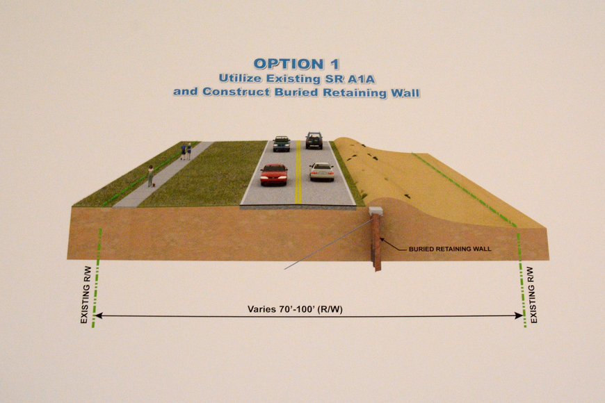 "This illustration shown at an FDOT meeting about S.R. A1A shows the first of FDOT""s six proposals, which leaves S.R. A1A where is is, but adds a buried seawall to protect it. (The sixth option, not shown in the illustrations, is to do nothing.)"