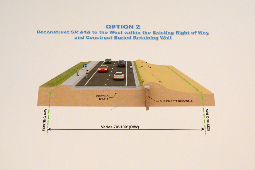 "The second of FDOT""s proposals for S.R. A1A shifts the roadway about 12 feet west, and adds a buried seawall in front of it."
