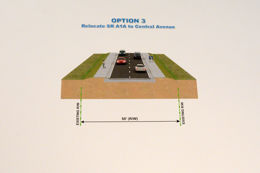 "The third of FDOT""s proposals for S.R. A1A relocates the road to Central Avenue, leaving the current S.R. A1A to become a bicycle path or walking path."