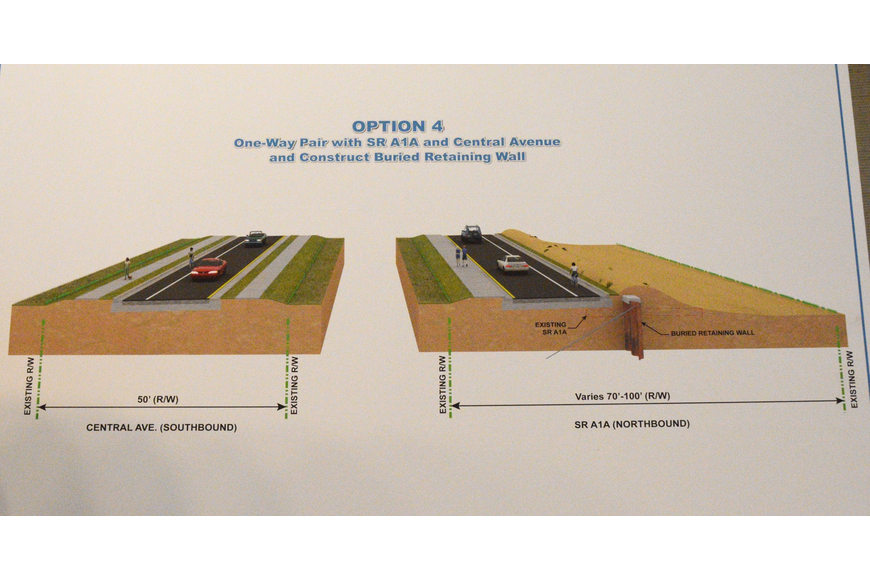 "The fourth of FDOT""s proposals for S.R. A1A shifts the roadway about 20 feet west with a buried seawall and makes it northbound-only, placing the southbound traffic on Central Avenue."