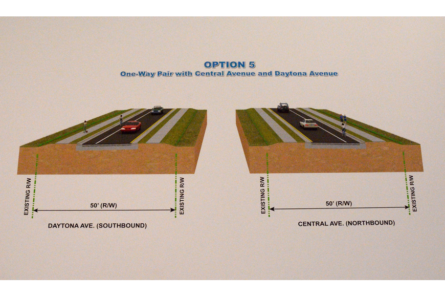 "The fifth of FDOT""s proposals for S.R. A1A eliminates S.R. A1A as a state road. Instead, Central Avenue would be used for northbound traffic, and Daytona Avenue would be used for southbound traffic."