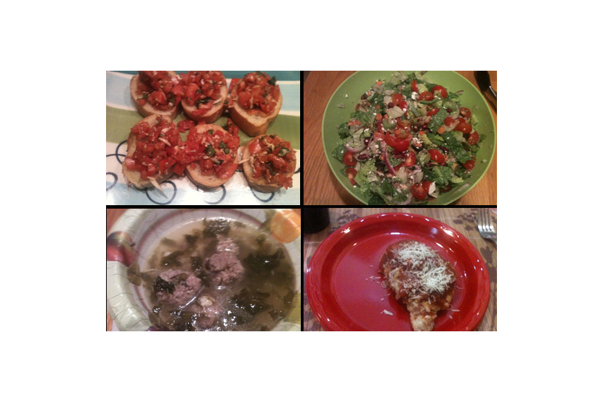 Bruschetta, salad, Italian wedding soup, and chicken Parmesan were four courses at our progressive dinner.