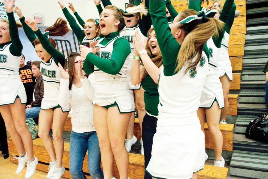 FPC cheerleaders celebrate when their names are announced as Region 2 small non-tumbling champions.